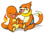 3_toes ambiguous_gender buizel charmander cute duo eyes_closed fire hindpaw laugh nintendo orange_body paws plain_background pokémon tickling toes ukkappa video_games white_background  Rating: Safe Score: 10 User: David_Paw_2013 Date: October 10, 2012""