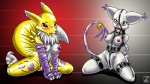 16:9 anthro bdsm bondage bound breasts canine cat digimon duo ear_tuft feline female fox frogtie fur gag gatomon mammal nipples nude renamon ring_gag rubber s-nina tuft wallpaper white_fur widescreen yellow_fur  Rating: Explicit Score: 7 User: Dark_wolf9741 Date: October 09, 2010