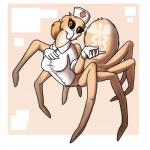 abdomen arachnid arthropod black_sclera breasts caduceus clothed clothing female gloves hat hi_res kea_(artist) multi_leg multi_limb nurse nurse_clarissa simple_background solo spider uniformRating: SafeScore: 16User: ThrifDate: September 23, 2017
