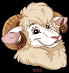 2017 alpha_channel bowen_whitehooves brown_eyes caprine digital_media_(artwork) fur horn kubo looking_at_viewer male mammal merino sheep simple_background smile solo transparent_background white_fur wool