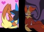 <3 aoinu607 blue_fur blush brown_fur canine delphox eyes_closed fox fur group jealous lagomorph lopunny lucario mammal mastery_position masturbation nintendo open_mouth pokémon rabbit red_eyes red_fur sex video_games voyeur yellow_fur  Rating: Explicit Score: 11 User: Rad_Dudesman Date: August 20, 2015