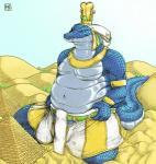 2013 anthro blue_scales bulge chubby clothed clothing crocodile crown deity desert egyptian english_text green_eyes half-dressed headpiece jewelry kalnareff kneeling looking_at_viewer macro male micro navel pyramid reptile sand scalie size_difference sobek teeth text topless  Rating: Safe Score: 8 User: GameManiac Date: July 01, 2015