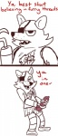 animatronic anthro balls canine comic crisis-omega erection eyewear five_nights_at_freddy's fox foxy_(fnaf) machine male mammal masturbation monochrome penile_masturbation penis robot solo video_games