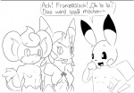 2015 anthro black_and_white buckteeth comic dialogue elpatrixf female flammin'go freckles german_text male marissa monochrome navel nintendo nude open_mouth pansear pikachu pokémon pokémorph quilladin simple_background smile text video_games white_background  Rating: Safe Score: 1 User: Lance_Armstrong Date: July 26, 2015
