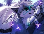 2012 ambiguous_gender anthro blue_fur blue_theme canine digital_media_(artwork) falvie fur grey_hair hair mammal solo wings wolf