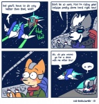 <3 anthro blush canine cat-boots comic dialogue digital_media_(artwork) duo embarrassed english_text eye_patch eyewear fire fox fox_mccloud humor innuendo laser male male/male mammal nintendo onomatopoeia space spacecraft star_fox text video_games wolf wolf_o'donnell   Rating: Safe  Score: 22  User: FatherOfGray  Date: February 15, 2015