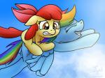 2014 apple_bloom_(mlp) blue_fur bow cloud cloudscape conicer cub cutie_mark duo equine female feral flying friendship_is_magic fur hair horse mammal multicolored_hair my_little_pony orange_fur outside pegasus pony rainbow_dash_(mlp) rainbow_hair red_hair scared sky smile wings young   Rating: Safe  Score: 13  User: Robinebra  Date: February 28, 2014