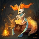 ambiguous_gender big_ears blue_eyes braixen camp canine cute eating eldrige fangs fire food fox fur grass log mammal marshmallow night nintendo pokémon scarf solo stick tree video_games watermark wood  Rating: Safe Score: 7 User: Wolfdude91 Date: January 10, 2016