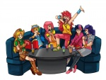 applejack_(mlp) book drink female fluttershy_(mlp) friendship_is_magic group hair hair_over_eye hat human humanized karaoke mammal microphone multicolored_hair my_little_pony not_furry pinkie_pie_(mlp) rainbow rainbow_dash_(mlp) rarity_(mlp) sapphire1010 singing table twilight_sparkle_(mlp)   Rating: Safe  Score: 11  User: gfjkbdgfbg459yu4  Date: September 02, 2012
