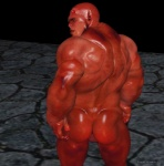 backsack balls black_howler butt demon ear_piercing facial_piercing horn humanoid male muscles not_furry piercing rear_view red_eyes red_skin solo   Rating: Explicit  Score: -2  User: lizardlover  Date: June 24, 2014