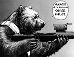 amazing ambiguous_gender bear biomega english_text greyscale gun holding_object holding_weapon humor mammal monochrome nihei_tsutomu ranged_weapon solo text weapon
