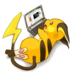 ambiguous_gender computer donguri feral laptop mammal microsoft_office nintendo pokémon pokémon_(species) raichu rodent simple_background solo video_games white_background