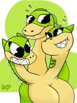 anthro breasts cuphead_(game) cute dragon female green_skin grim_matchstick happy multi_head sharp_teeth simple_background smile teeth therealalauddinslayerRating: SafeScore: 3User: ShhaaarkDate: April 26, 2018