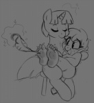 cutie_mark digital_drawing_(artwork) digital_media_(artwork) dragon duo equine fan_character female feral friendship_is_magic fur greyscale hair hindpaw honey_dip_(mlp) horn mammal monochrome my_little_pony paws scalie tickling tickling_feet twilight_sparkle_(mlp) unicorn zonkpunch  Rating: Safe Score: 5 User: DragonRanger Date: December 19, 2013