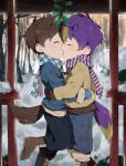 2018 absurd_res animal_humanoid boots brown_hair canid canine canine_humanoid child clothed clothing dog_humanoid duo eyes_closed footwear fox_humanoid hair hi_res holly_(plant) humanoid jacket kissing male male/male mammal mittens outside pants plant purple_hair scarf snow thebrushking youngRating: SafeScore: 8User: OberschutzeDate: December 25, 2018
