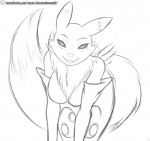 2015 anthro bent_over black_sclera blue_eyes bottomless breasts canine clothed clothing digimon doomthewolf english_text featureless_breasts female fox fur gloves half-closed_eyes half-dressed looking_at_viewer mammal markings open_mouth renamon simple_background sketch slit_pupils smile solo teeth text topless tuft white_background  Rating: Safe Score: 26 User: GameManiac Date: November 17, 2015