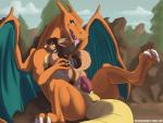 2016 3_toes anal anal_penetration animal_genitalia anthro anthro_on_feral anus balls bestiality blue_eyes blue_sky brown_eyes brown_hair butt canine charizard claws cum cum_in_ass cum_inside day detailed_background digital_media_(artwork) dragon duo embrace erection feral fur genital_slit hair hi_res interspecies knot larger_feral larger_male long_hair looking_at_viewer looking_back lying male male/male male_penetrating mammal membranous_wings multicolored_fur nintendo notsafeforhoofs nude on_back open_mouth outside penetration penis pokémon poképhilia raised_tail scalie sex size_difference sky slit smaller_anthro smaller_male smile toe_claws toes tongue tongue_out video_games white_nose wings