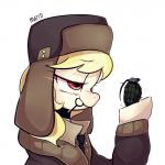 """2015 blonde_hair clothing equine explosives female friendship_is_magic grenade hair hat horse jacket mammal march_gustysnows_(mlp) marenlicious my_little_pony necktie pony purple_eyes solo ushanka  Rating: Safe Score: 7 User: 2DUK Date: July 05, 2015"""""""