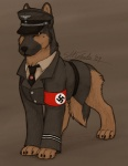 2009 4_toes armband black_nose bottomless brown_background brown_eyes brown_fur canine claws clothed clothing digitigrade dog feral fur german_shepherd gizgiz jacket male mammal military nazi necktie peaked_cap shirt simple_background solo swastika toes uniform xanderiffic