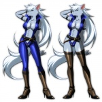 """anthro armband belt blue_eyes bodysuit boots canine cleavage clothed clothing crossgender female footwear fur grey_body grey_fur hair hand_behind_head high_heels inumania long_hair mammal plain_background pose pretty_cure skimpy skinsuit smile_pretty_cure solo standing white_background white_hair wolf wolfrun  Rating: Safe Score: 24 User: uncut69 Date: October 22, 2012"""""""