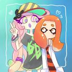 <3 abxy aipiepo blush bracelet duo female green_eyes hair hairclip hat inkling jewelry mouthless necktie nintendo open_mouth orange_eyes orange_hair pink_sclera sea_anemone splatoon squid_squad syn. tentacle_hair tentacles v_sign video_games  Rating: Safe Score: 7 User: ROTHY Date: August 07, 2015
