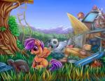 2015 ball book equine female friendship_is_magic grass hair ladder mammal mountain my_little_pony outside pegasus purple_eyes purple_hair reading rope_ladder scootaloo_(mlp) scooter sitting soccer solo treehouse viwrastupr wings young   Rating: Safe  Score: 3  User: 2DUK  Date: April 17, 2015