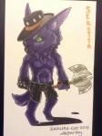 2013 anthro axe black_bottomwear black_handwear black_headwear canine cestus chibi clothed clothing cowboy fingerless_gloves fur gloves green_sclera half-dressed hat holding_weapon male mammal marker_(artwork) melee_weapon name_badge purple_fur sekotta shorts signature solo tiny_legs topless traditional_media_(artwork) unknown_artist weapon wolf  Rating: Safe Score: 0 User: sekotta Date: April 01, 2013""