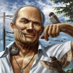 2009 avian bird body_hair chest_hair cigar eurasian_tree_sparrow feral human leaves necklace power_lines smoking sparrow taku   Rating: Safe  Score: 5  User: ktkr  Date: July 08, 2011