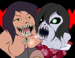 black_hair black_sclera blue_nipples breasts clothing crossover cum cum_on_breasts cum_on_tongue duo_focus faceless_male female ghost green_eyes grey_skin group hair hisako_(killer_instinct) human japanese_clothing killer_instinct kimono looking_at_viewer male mammal mckraken mileena monster mortal_kombat nightmare_fuel nipples not_furry open_mouth penis scary sharp_teeth spirit tarkatan teeth tongue tongue_out undead video_games yellow_eyes  Rating: Explicit Score: 2 User: ROTHY Date: February 04, 2016