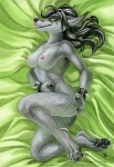 """2013 anthro black_hair breasts canine female fur grey_fur hair licking licking_lips lying mammal nipples nude on_side shinigamigirl solo tongue tongue_out video_games warcraft were werewolf wolf worgen world_of_warcraft  Rating: Questionable Score: 59 User: TonyLemur Date: May 12, 2013"""""""