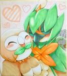 <3 avian beak bird blush dartrix decidueye eyes_closed feathers feral green_feathers group hi_res kiriya nintendo pokémon rowlet simple_background traditional_media_(artwork) video_games wings