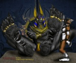 anthro anubis bdsm bondage bound canine deity egyptian fox giant harness kharnak male male/male mammal muzzle_(object) muzzled pawpads paws ring size_difference slave worship   Rating: Questionable  Score: -7  User: Kharnak  Date: October 28, 2014