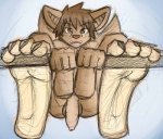 anthro balls bat brown_eyes brown_fur brown_hair cute flaccid foot_focus fur hair hindpaw long_foreskin looking_at_viewer male mammal nude open_mouth paws penis plantigrade presenting sebafox sketch soles solo uncut wings