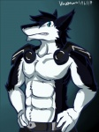 abs anthro armor belt biceps big_muscles black_fur black_hair blue_eyes claws clothed clothing discordnight fangs fur hair half-dressed looking_at_viewer male mammal muscles pants pecs pose science_fiction sergal solo standing teeth toned topless tuft ventkazemaru white_fur   Rating: Safe  Score: 1  User: DiscordKnight  Date: April 02, 2015