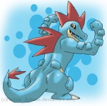 abstract_background ambiguous_gender anthro blue_body brown_eyes fangs feraligatr flexing grin looking_at_viewer looking_back muscular nintendo open_mouth platina-jolteon pokémon rear_view reptile scalie simple_background smile solo standing teeth video_games