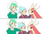 ambiguous_gender blush clothing comic cute duo feral group hair male male/male milotic nintendo petting plain_background pokémon steven_stone unknown_artist video_games wallace_(pokemon)   Rating: Safe  Score: 4  User: QueerChrysalis  Date: February 05, 2015