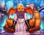 ambiguous_gender anthro clothing fur gloves hair hi_res hybrid kilver lab_coat looking_at_viewer nintendo open_mouth pokémon raichu sitting smile solo technology thick_thighs video_games