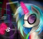 2015 abstract_background chanceyb equine eyewear female feral friendship_is_magic fur glasses glowstick hair horn magic mammal multicolored_hair my_little_pony solo two_tone_hair unicorn vinyl_record vinyl_scratch_(mlp) white_fur  Rating: Safe Score: 0 User: ConsciousDonkey Date: February 04, 2016