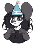 <3 anthro bear birthday black_hair blue_eyes clothed clothing cute female fur hair hat ken_ashcorp kenny kenny_(kenashcorp) looking_at_viewer mammal meryiel panda sketch smile solo