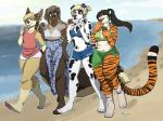 2017 alice anthro beach bear bikini black_hair blonde_hair blue_eyes brown_eyes brown_hair canine claws clothed clothing crossdressing dalmatian dessert dog feline female food fur girly gloves_(marking) group hair ice_cream kaija kaylee laugh long_hair male mammal markings navel osiris_henschel outside pawpads ponytail purple_eyes redpixie sarong seaside short_hair shorts slightly_chubby smile socks_(marking) standing striped_fur stripes swimsuit thick_thighs tiger toe_claws tongue tongue_out walking