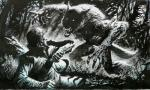 angry anthro attack canine claws clothed clothing couple duo fangs fight forest greg_staples human interspecies knife male mammal monochrome no_pupils open_mouth pose rage standing teeth torn_clothing traditional_media_(artwork) tree vein were werewolf  Rating: Safe Score: 9 User: Vanzilen Date: August 24, 2015