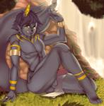 anthro anubis anubislivess balls deity dragroon ear_piercing erection hi_res looking_at_viewer male nude penis piercing raised_heel sitting smile solo tongue tongue_out vein  Rating: Explicit Score: 14 User: EmoCat Date: January 30, 2016