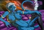 alien blue_nipples blue_skin breasts cum dickgirl english_text hair humanoid intersex lips nipples orange_eyes renezuo solo text trials_in_tainted_space white_hair  Rating: Explicit Score: 13 User: Juni221 Date: May 08, 2014