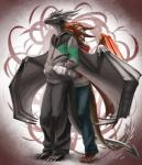 2012 abstract_background absurd_res anthro black_scales claws clothed clothing digital_media_(artwork) dragon fin green_eyes grey_scales hands_in_pockets hi_res hoodie horn khyaber khyaber_(character) larger_male male male/male membranous_wings morghus multicolored_scales pants scales scalie size_difference slit_pupils smaller_male standing sweater toe_claws wings yellow_eyes  Rating: Safe Score: 21 User: Strongbird Date: March 29, 2016