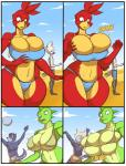 2015 anthro avian beach big_breasts bikini bird breast_expansion breasts breegull canine cleavage clothed clothing comic digital_media_(artwork) female huge_breasts jaeh lizard male mammal reptile scalie seaside swimsuit   Rating: Questionable  Score: 6  User: Robinebra  Date: March 19, 2015