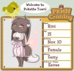 animal_crossing anthro avian beak bird bow buneary clothing crossover doll dress duo eevee english_text feathers female fur hair looking_at_viewer may19757 nintendo pokémon red_eyes solo_focus text video_games   Rating: Safe  Score: 1  User: Deatron  Date: November 10, 2013