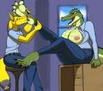 """alligator anthro anthropoint:4 big_breasts breasts clothing duo female foot_fetish foot_focus foot_lick licking male male/female reptile scalie tongue tongue_out unknown_species webbed_feet zp92  Rating: Explicit Score: 5 User: NopeDopeForSlope Date: June 27, 2015"""""""