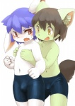 2015 anthro blue_hair blush brown_hair bulge butt cat chest_tuft clothed clothing cub cute duo feline fist from_behind frown fur green_fur hair half-dressed inner_ear_fluff kemoisumi kemono lagomorph male male/male mammal navel nipple_play open_mouth rabbit red_eyes shota simple_background smile standing sweat sweatdrop swimsuit tight_clothing topless tuft white_background white_fur yellow_eyes young  Rating: Questionable Score: 20 User: atatat Date: July 16, 2015