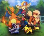 ambiguous_gender arcanine avian canine charizard dragon female fire fox fur group haychel male mammal nidorina nintendo orange_skin pidgeot pikachu pokéball pokémon pokémon_trainer rodent scalie video_games yellow_fur  Rating: Safe Score: 9 User: Scakk Date: May 31, 2015