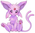 ambiguous_gender chest_tuft cute eeveelution espeon feral fur looking_at_viewer low_res nintendo pokémon pokémon_(species) purple_eyes purple_fur simple_background sitting solo suppainu tuft video_games white_background